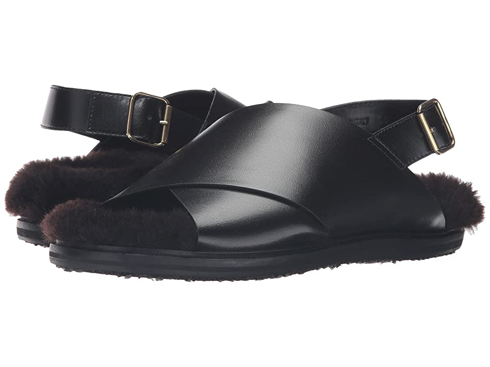 MARNI Calf Leather/Shearling Sandal (Black) Men