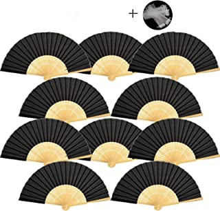 Dproptel - Ventilador de Mano Plegado de Seda de bambú con Bolsa de Regalo de Organza para decoración de Bodas, Fiestas, Regalo de Iglesia, 10 Negro