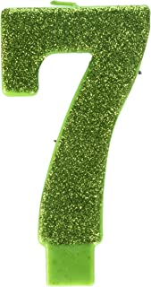 amscan Numerical Candles, Numeral #7 Large Glitter Candle, Party Supplies, Kiwi, 5 1/4
