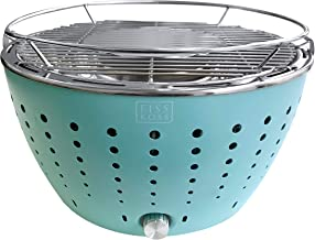 Fiss Koss Portable Barbecue Grill Super Lightweight Indoor & Outdoor Use Stainless Steel Coating with Battery Support for Smoke Control Ocean Color