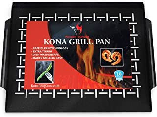 Kona Best Grill Tray - Heavy Duty BBQ Grilling Pan Will Never Warp & Porcelain Enameled for Easier Cleaning - BBQ Accessor...