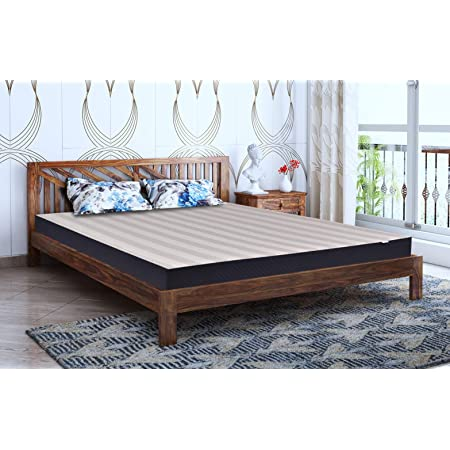 Springtek Amaze Pure Sheesham (King Size) Solid Wooden Platform Bed, Teak Color - 78x72 Inches