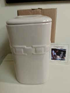Longaberger Large Ivory Canister With Lid Cookie Jar Pottery New In Box Holds 70 OZ