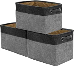 Sorbus Storage Large Basket Set [3-Pack] - 15 L x 10 W x 9 H - Big Rectangular Fabric Collapsible Organizer Bin Carry Hand...