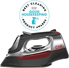 CHI Steam Iron for Clothes with Titanium Infused Ceramic Soleplate, 1700 Watts, Electronic Temperature Control, 8' Retractable Cord, 3-Way Auto Shutoff, 400+ Holes, Professional Grade, Silver (13102)