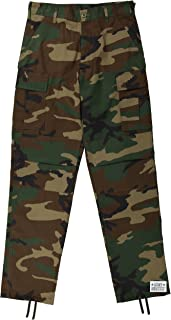 Mens Woodland Camouflage Poly/Cotton Military BDU Army Fatigues Cargo Pants with Pin