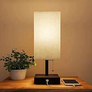 USB Rectangle Lamp with Wood Base-Modern Desk Light, LED Bulb Included, USB Port for Living Room, Bedroom, Office by Lavis...