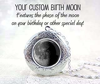 Your Custom Birth Date Moon Locket Necklace - Personalized Birthday Moon Phase Pendant Charm in 3 Metal Finishes