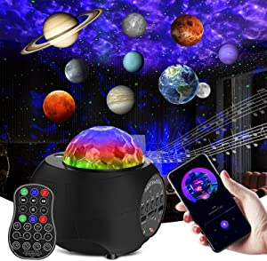 Galaxy Light Projector 10 Planet Mode & Star Skylight Projector with Bluetooth Music Speaker & Rotation Planetarium Nebula Cloud, Nebula Lamp with Auto-Off Timer for Kid Bedroom, Ambiance-Sky Blue