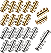 I-MART Pack of 20 Multi 3 Strand Slide Lock Clasps, Connectors for Necklace/Bracelet Jewelry Findings, 10 Pcs Silver & 10 Pcs Gold Plated Brass