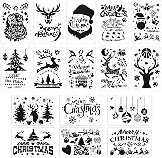 Christmas Stencils 16 Pcs Santa Template10 Inches Reusable Plastic Craft for DIY Graffiti Art Drawing Painting Spraying Window Glass Door Car Body