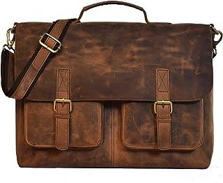 """Umhängetasche Leder KK""""S Bags Berlin Messenger Aktentasche Tragetasche Laptoptasche 17.3 18 Zoll Ledertasche Vintage Arbeitstasche SchultertascheBraun Herren Damen Groß XL Braun # Pocket"""