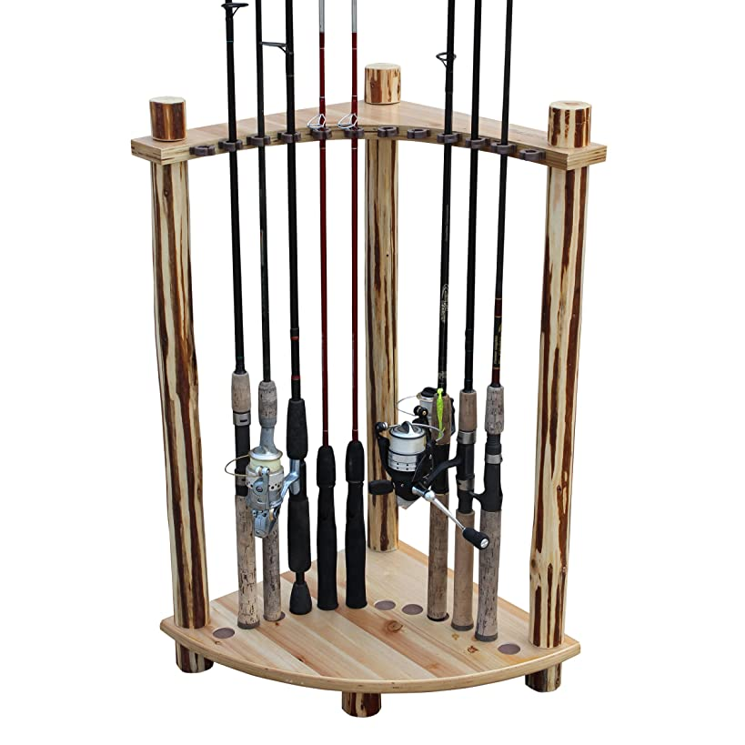 Rush Creek Creations Rustic Log 12 Fishing Rod Storage Corner Rack - Handcrafted Solid Pine - No Tool Assembly
