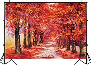 Allenjoy 7x5ft Art Oil Painting Autumn Forest Scenery Photography Backdrop Studio Props Red Maple Garden Party Booth Background Newborn Baby Shower Event Decoration Banner