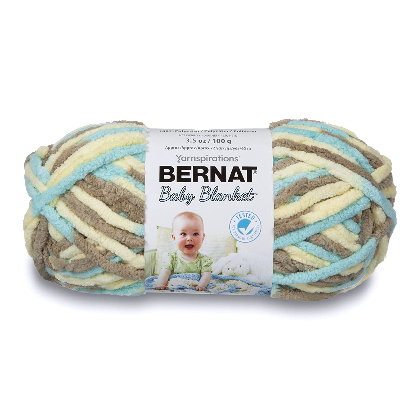 Bernat Baby Blanket Yarn, 3.5 oz, Gauge 6 Super Bulky, Beach Babe