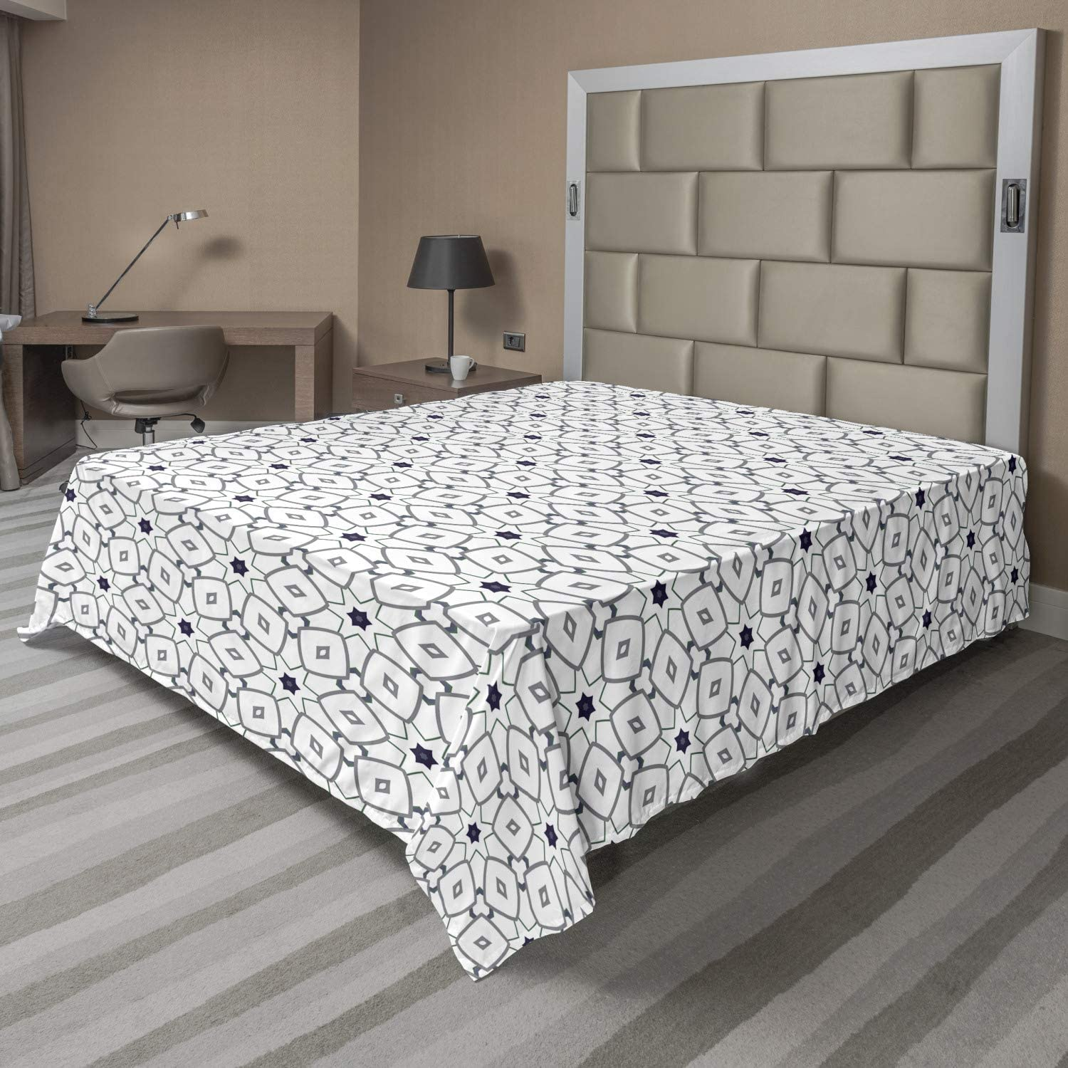 Ambesonne Very popular! Abstract Flat Sheet safety Geometric Design of Ornamental De