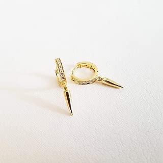 Spike Earrings, Small Huggie Hoop Earrings, Cubic Hoop Earrings, Tiny Gold Hoop Earrings, Spike Cubic Earrings, Dainty Hoops, ALEXA EARRINGS