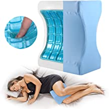 Cooling Knee Pillow for Pregnancy Body, Side Sleepers, Memory Foam Cooling Gel, Orthopedic Wedge Contour for Leg Elevation, Knee Support, Back Hip, Sciatica Nerve Pain Relief, Breathable Cover Blue