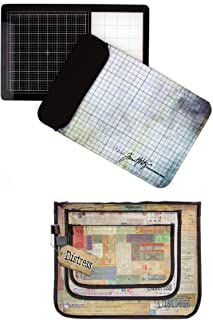 Tim Holtz Tonic Studios Travel Glass Media Mat and Protective Carry Sleeve, 2633EUS and Tim Holtz Distress Accessory Bag #2, Bundle of 2 Items