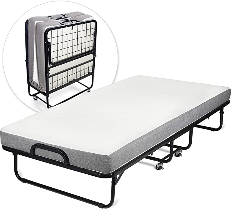 Milliard Diplomat Folding Bed Twin Size With Luxurious Memory Foam Mattress And A Super Strong Sturdy Frame 75 X 38