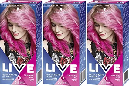 3 x Schwarzkopf Live in Color XXL Ultra Brights Shocking Pink no 93 by Schwarzkopf