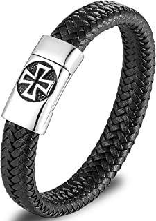 Mens Black, Brown, Blue Leather Bracelets, Stainless...