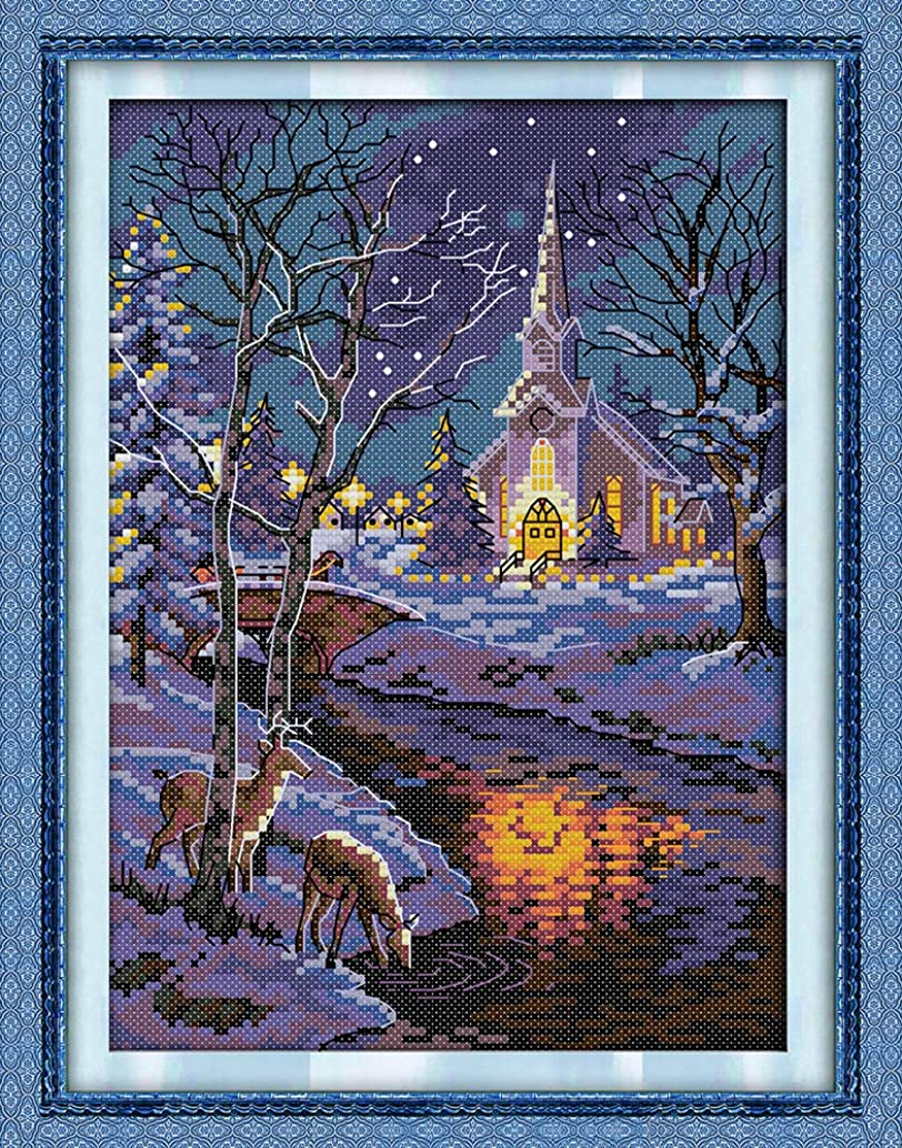 Joy Sunday Cross Stitch Kits, Winter Night Scenes Pattern Cross-Stitch Stamped Kit,Embroidery Set DMC Threads 11''x15''
