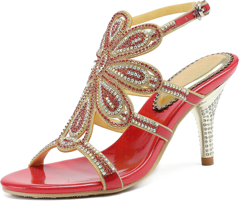 Honeystore Women's Flower Rhinestones Pumps Stiletto Heels Sandals Dress shoes