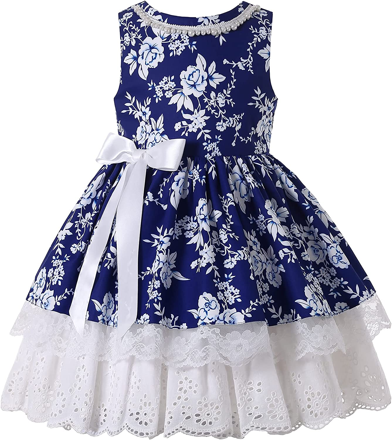 Pettgirl Kids Girls Elegant Navy Lace Ruffle Holiday Clothing Child Fashion Floral Fancy Pageant Boutique Dresses