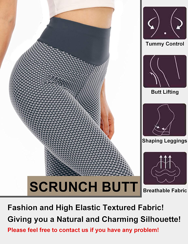 Luranee Womens High Waist Yoga Pants Tummy Control Workout Ruched Butt Lift Leggings