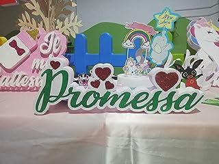 Scritta PROMESSA verde polistirolo/polistirene con Cuori glitterati per Matrimonio - Dimensione 50 x 15 x 4 cm