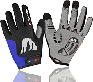 RocRide Cycling Gloves with Gel Padded Protection. Road and Mountain Biking. Full Finger with Screen Compatible Tips Men, Women and Children Sizes.