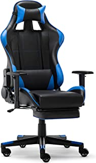 IntimaTe WM Heart Silla Gaming, Silla Gamer con Reposapiés Silla Escritorio Giratoria Altura Ajustable Respaldo Inclinable hasta 135 ° PU (Azul)