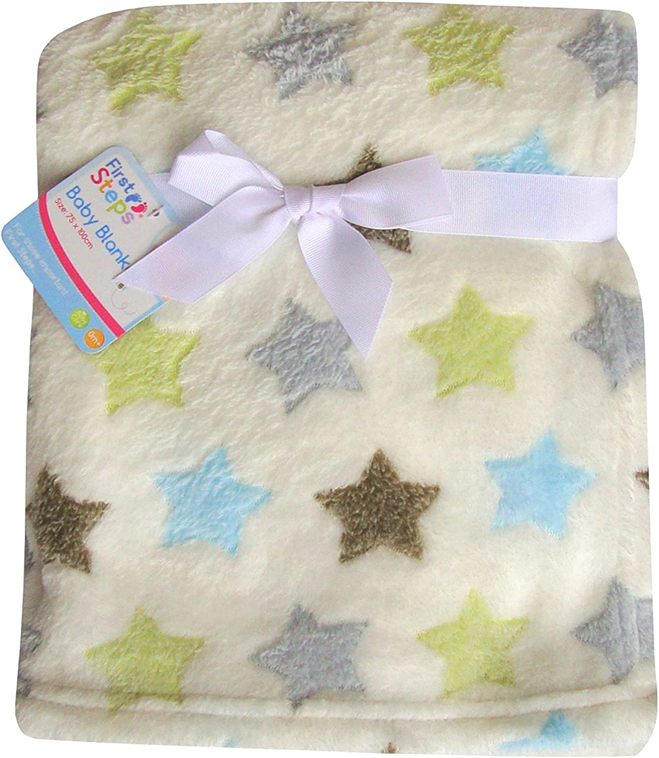 First Steps Luxury Soft Fleece Baby Blanket in Cute Elephant Design 75 x 100cm for Babies from Newborn by First Steps