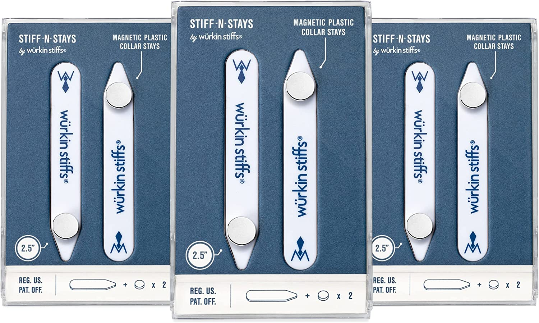 Wurkin Stiffs - 3 pair 2.5 inch Stiff-N-Stay Plastic Magnetic Collar Stays with storage case