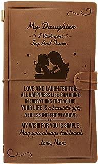 Cuaderno de cuero personalizado para mi hija, grabado antiguo hecho a mano, cuaderno de viaje, mejor graduación de vuelta a la escuela, aniversario, regalo de Navidad, color Mamá a hija