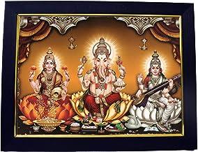101 Temples - Divinity Eternity Spirituality Wooden Lakshmi Ganesha Saraswati Photo Frame (13x10inch)