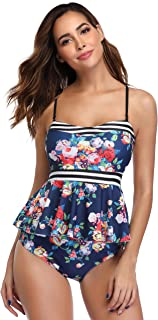 MARINAVIDA Women's Two Piece Bathing Suit Ruffle Top Retro Printed Tankini High Waist Swimsuit Tummy Control Swimwear