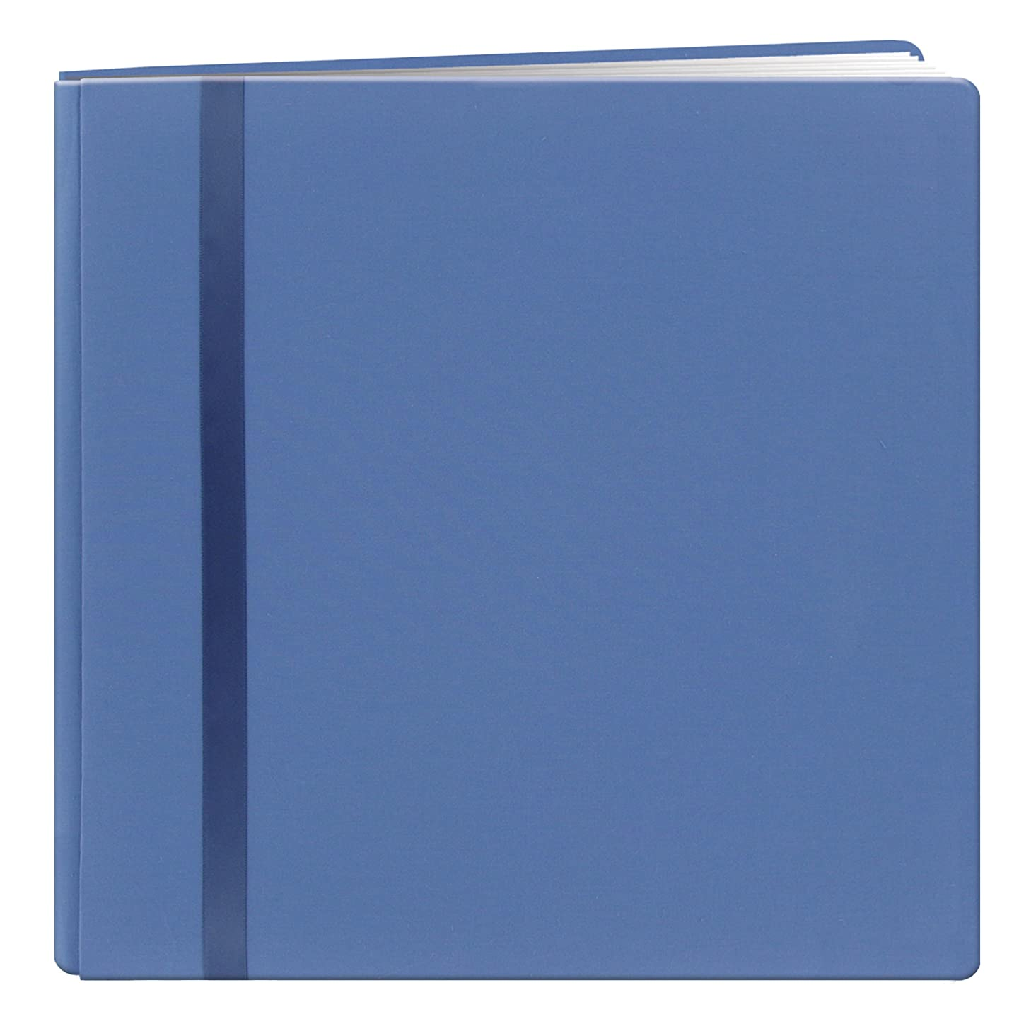 Pioneer 8 Inch by 8 Inch Snapload Deluxe Fabric with Ribbon Trim Cover Memory Book, Blue