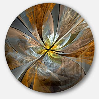 Designart Symmetrical Yellow Fractal Flower' Oversized Modern Metal Clock, Circle Wall Decoration Art, 38x38 Inches