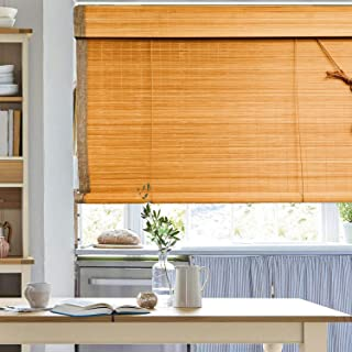 Bamboo Roll Up Window Blind, 36x70inch Natural Roman Bamboo Sun Shade Light Filtering Roller Shades with Valance Indoor Ou...