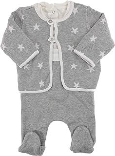 Mayoral Jungen Baby-Strampler-Set Strick-Overall & Strickjacke grau