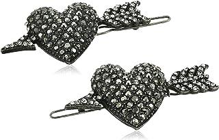 Steve Madden Women's Cupid Heart with Arrow Design Gunmetal-Tone Hair Pin Set
