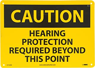 NMC C516AB CAUTION - HEARING PROTECTION REQUIRED BEYOND THIS POINT Sign - 14 in. x 10 in., Black Text on Yellow, Aluminum Caution Sign