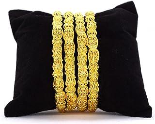اساور مطلية بالذهب مصنوعة يدويًا للنساء، مجموعة مكونة من 4 قطع من المجوهرات
