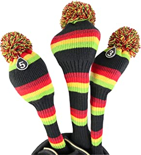 Hauni Stripes Knitted Golf Club Head Covers 3 Piece Set 1 3 5 Driver and Fairway HeadCovers Fits 460cc Drivers