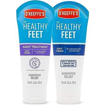 O'Keeffe's for Healthy Feet Foot Cream, 3oz Tube and Night Treatment Foot Cream, 3oz Tube