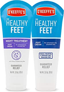 O'Keeffe's for Healthy Feet Foot Cream, 3oz Tube and Night Treatment Foot Cream, 3oz Tube