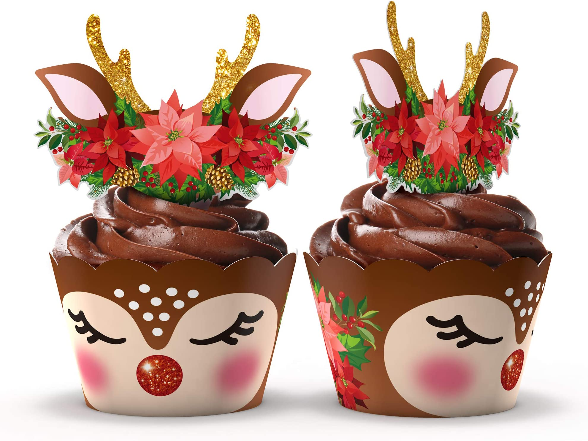 2 Merry Christmas Cake Cupcake Plaques