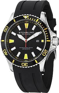 Stuhrling Original Men's 706.04 Aquadiver Regatta Quartz Date Yellow Accent Rubber Strap Diver Watch, Black Band, Analog D...